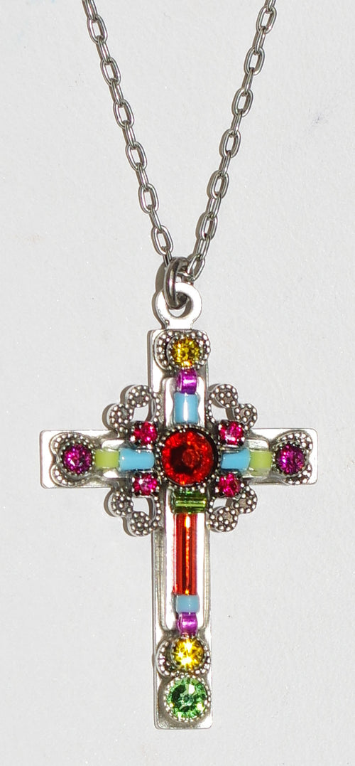 "FIREFLY CROSS NECKLACE LARGE ORNATE 8795-MC: multi color stones in 1.25"" cross, silver 18"" adjustable chain"