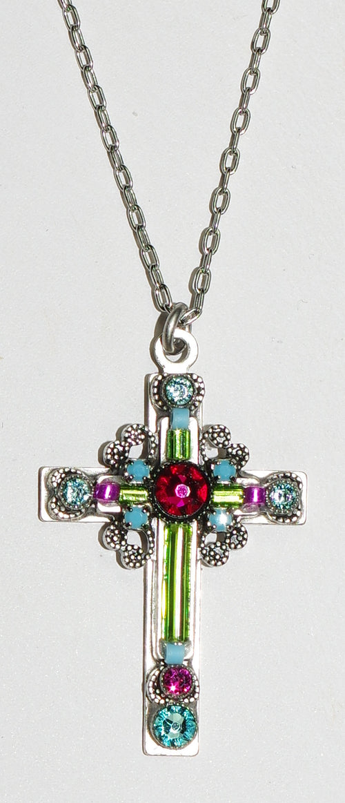 "FIREFLY CROSS NECKLACE LARGE ORNATE LIME: multi color stones in 1.25"" cross, silver 18"" adjustable chain"