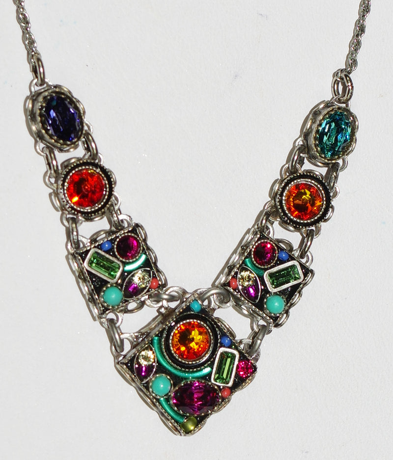 "FIREFLY NECKLACE CALYPSO V 8773-MC: multi color stones, center pendant = .75"", in silver 17"" adjustable chain"