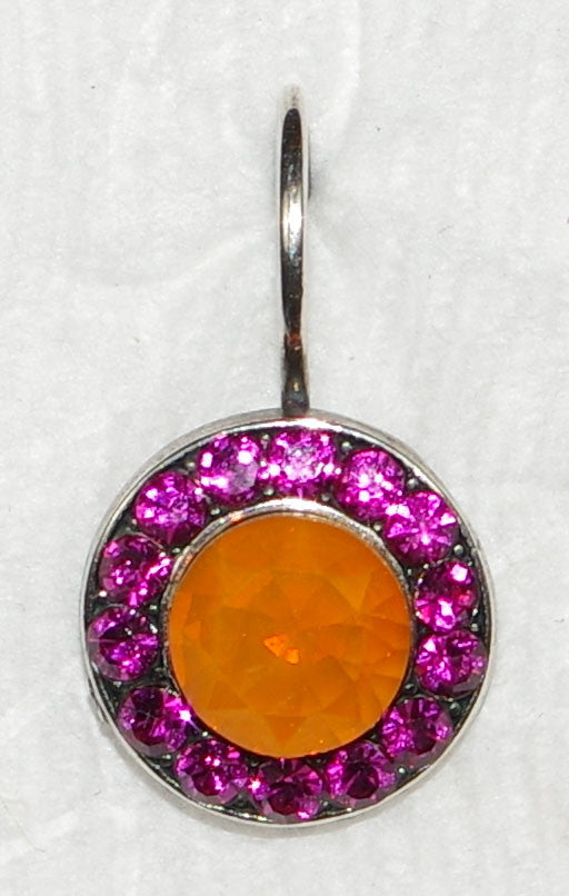 "MARIANA EARRINGS LADY MARMALADE SOPHIA: orange, pink stones in 1/2"" silver setting, lever backs"
