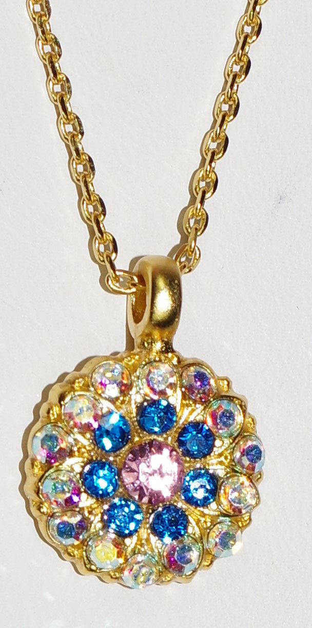 "MARIANA ANGEL PENDANT KISS FROM A ROSE: blue, pink, a/b stones in yellow gold setting, 18"" adjustable chain"