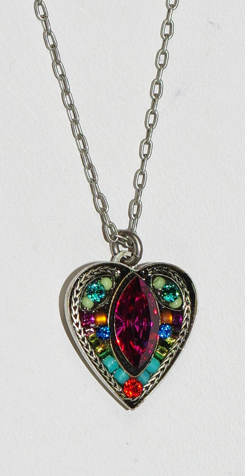 "FIREFLY NECKLACE HEART W/MARQUIS MC: multi color stones in 5/8"" silver setting, 18"" adjustable chain"
