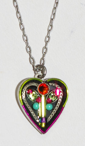 "FIREFLY NECKLACE BOTANICAL HEART MC: multi color stones in 5/8"" heart, silver 18"" adjustable chain"