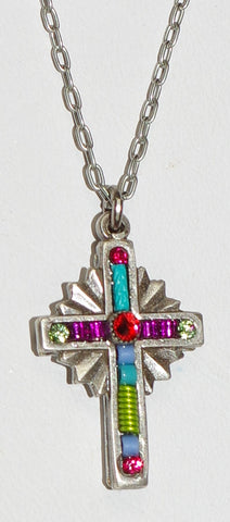 "FIREFLY CROSS NECKLACE PETITE SUN: multi color stones in .75"" cross, silver 18"" adjustable chain"