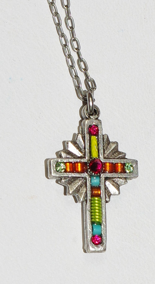 "FIREFLY CROSS NECKLACE PETITE TANGERINE: multi color stones in .75"" cross, silver 18"" adjustable chain"