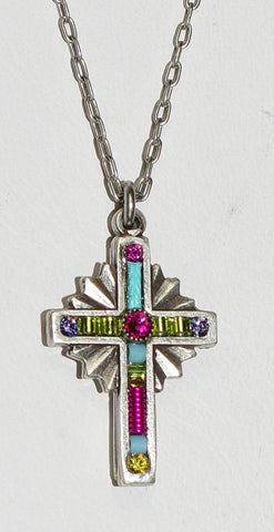 "FIREFLY CROSS NECKLACE PETITE FUSCHIA: multi color stones in .75"" cross, silver 18"" adjustable chain"