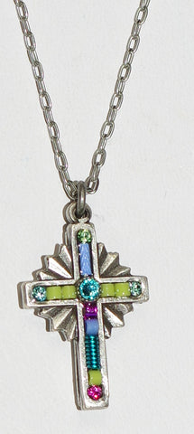 "FIREFLY CROSS NECKLACE PETITE LT: multi color stones in 1"" cross, silver 18"" adjustable chain"