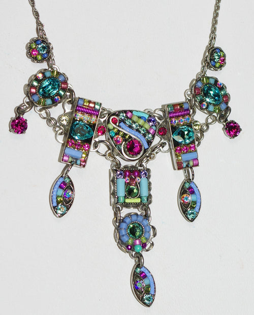 "FIREFLY NECKLACE VIVA LARGE SOFT: multi color stones in 2"" long center pendant, silver 16"" adjustable chain"