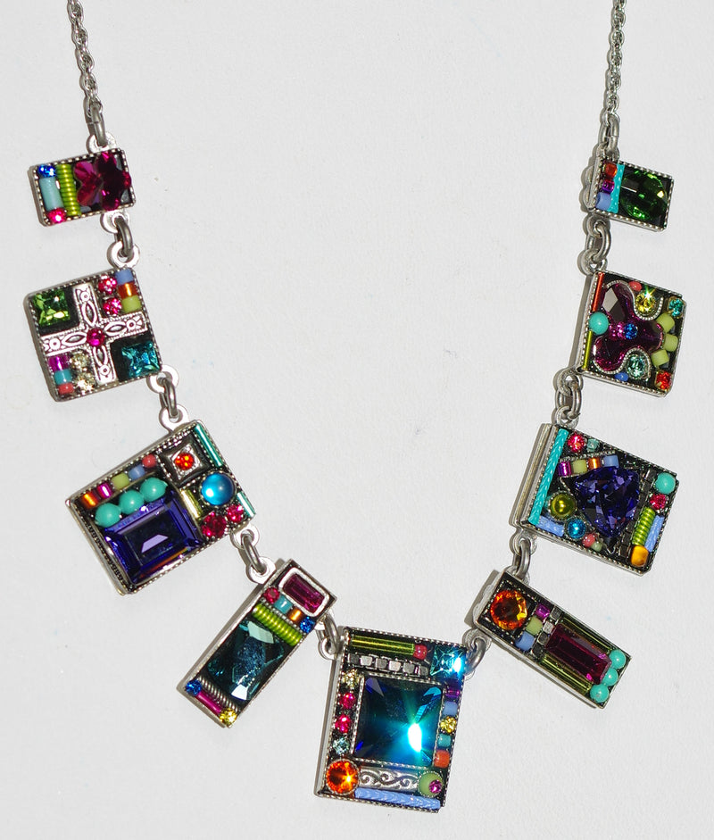 "FIREFLY NECKLACE GEOMETIRC LARGE MC: multi color stones in 18"" silver adjustable chain, center pendant = 5/8"""