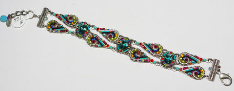 FIREFLY BRACELET LAVISH LINE MC: multi color stones in silver setting