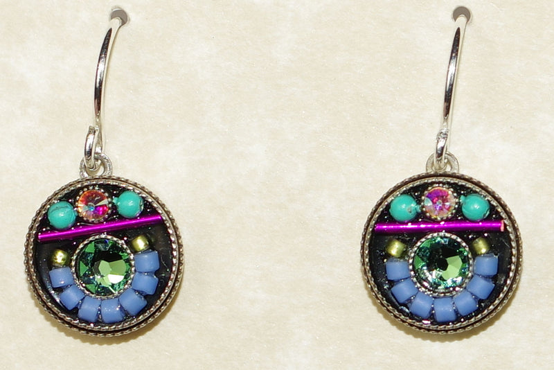 "FIREFLY EARRINGS VIVA ROUND SOFT: multi color stones in 3/8"" silver setting, wire backs"