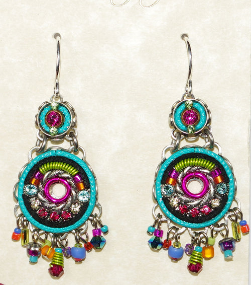 "FIREFLY EARRINGS TWO TIER MC: multi color stones in 1.25"" silver setting, wire backs"