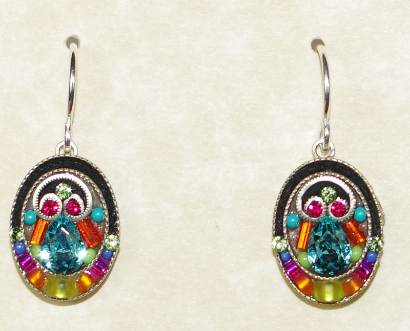 "FIREFLY EARRINGS OVAL MC: multi color stones in 1/2"" silver setting, wire backs"
