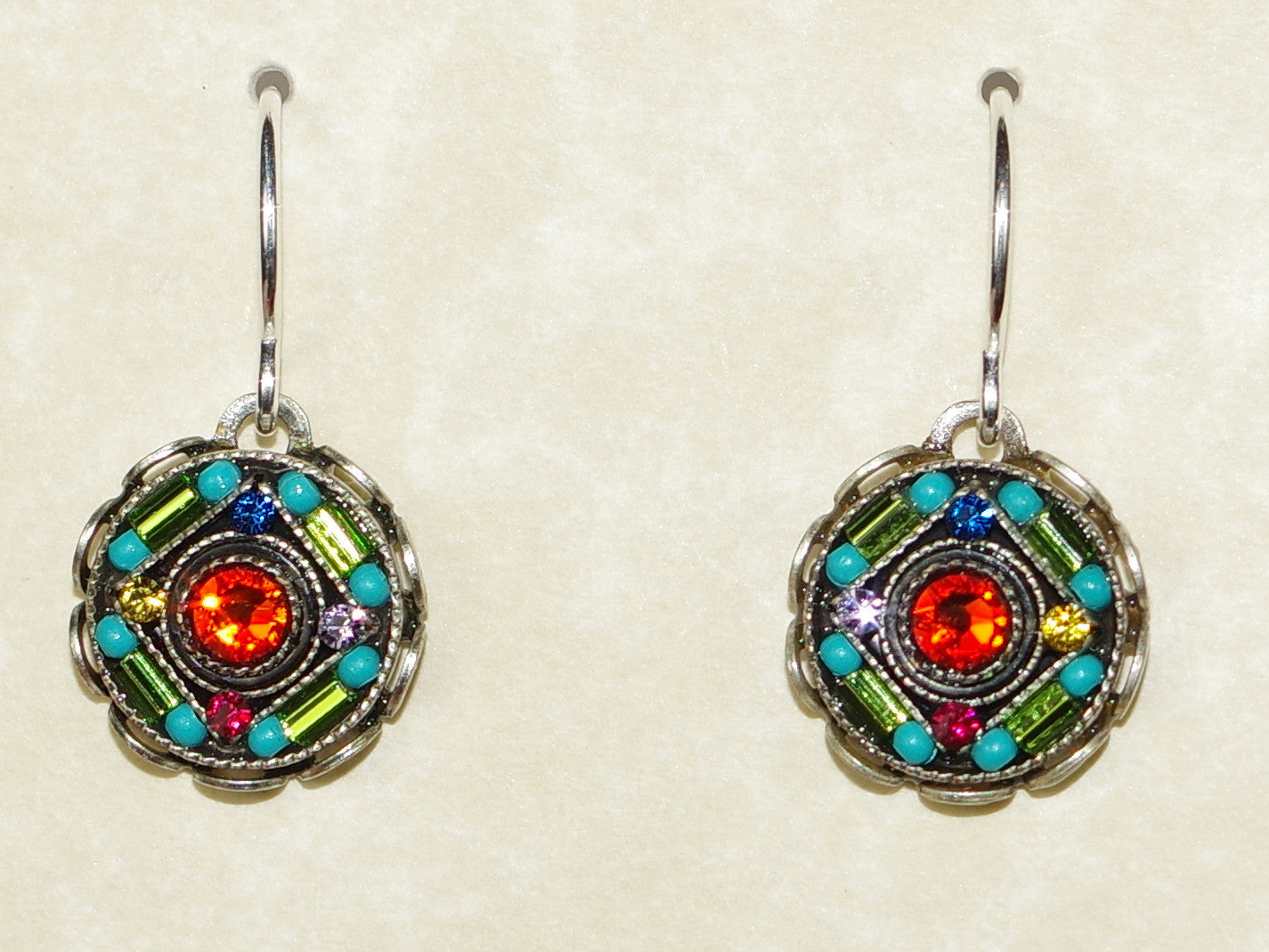 d9065096c7467 FIREFLY EARRINGS ROUND MC: multi color stones in 1/2