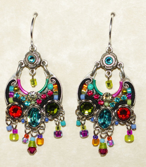 "FIREFLY EARRINGS HOOP CHANDELIER MC: multi color stones in 1"" silver setting, wire backs"