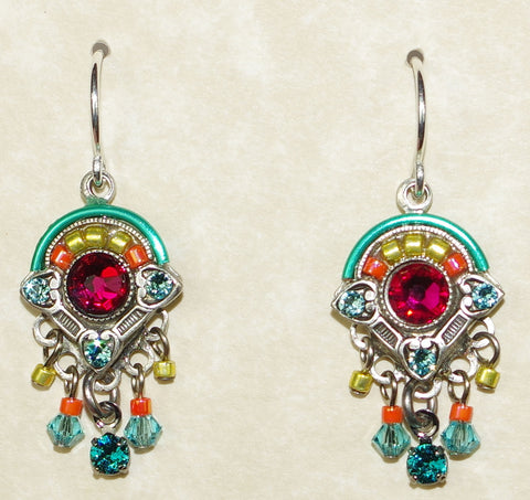 "FIREFLY EARRINGS BAROQUE DANGLES LT: multi color stones in 3/4"" silver setting, wire backs"
