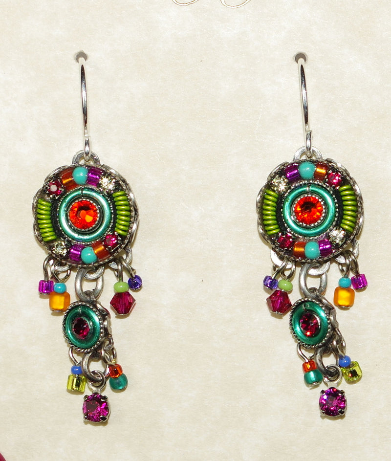 "FIREFLY EARRINGS TWO TIER MC: multi color stones in 1"" silver setting, wire backs"