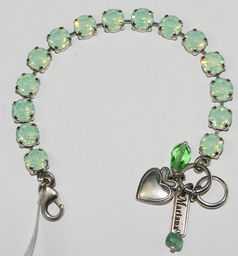 "MARIANA BRACELET BETTE LIGHT GREEN OPAL: 3/8"" green stones in silver setting"