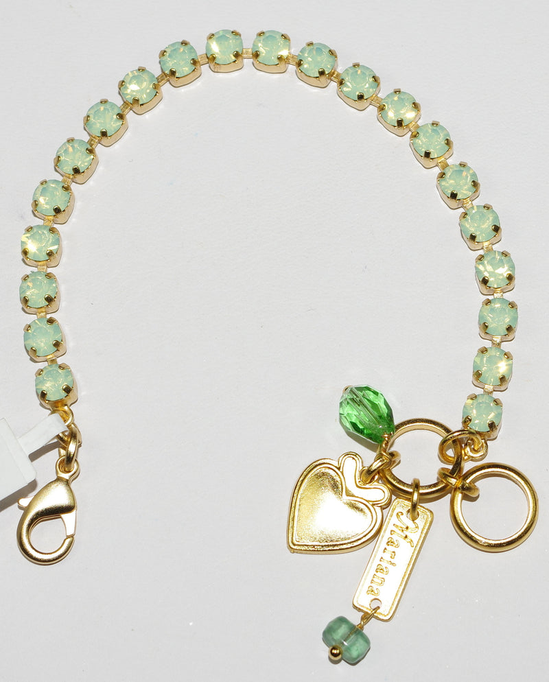 "MARIANA BRACELET CHRYSOLITE: 2/8"" green stones in yellow gold setting"