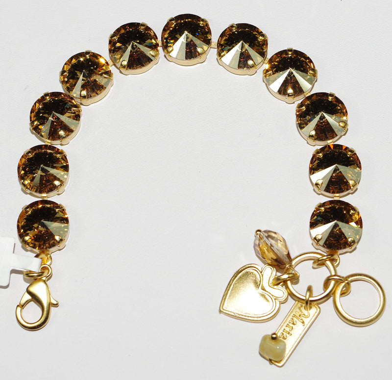 "MARIANA BRACELET GOLDEN SHADOW: 1/2"" amber stones in yellow gold setting"