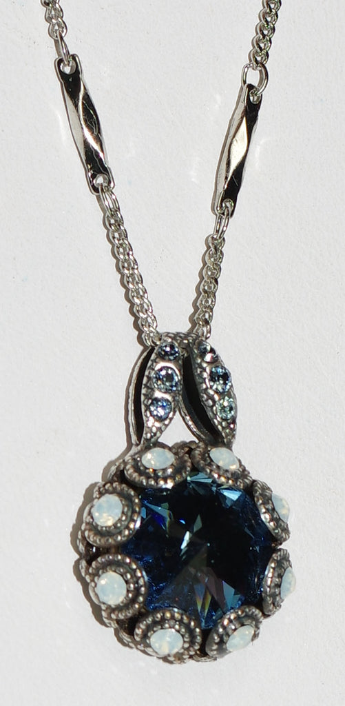 "MARIANA PENDANT MOOD INDIGO: blue, white stones in 1"" silver setting, 19"" adjustable chain"