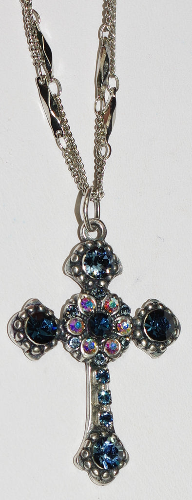 "MARIANA CROSS PENDANT MOOD INDIGO: blue, a/b stones in silver setting, 18"" double chain"