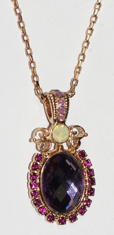 "MARIANA PENDANT BOHEMIAN RHAPSODY: purple, white stones in 1.75"" rose gold setting, 28"" adjustable chain"