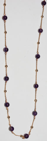 "MARIANA NECKLACE AMETHYST: purple stones in rose gold setting, 36"" adjustable chain"