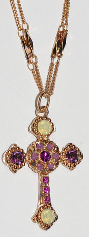 "MARIANA CROSS PENDANT BOHEMIAN RHAPSODY: purple, white stones in rose gold setting, 20"" adjustable chain"