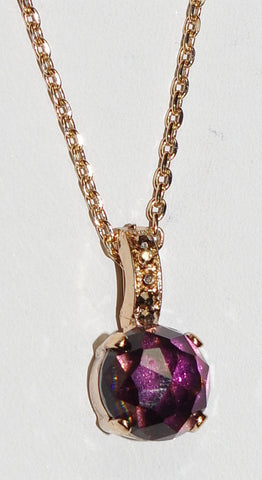"MARIANA PENDANT BOHEMIAN RHAPSODY: purple, gold stones in 3/4"" rose gold setting, 18"" adjustable chain"