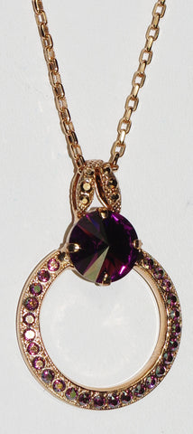 "MARIANA PENDANT BOHEMIAN RHAPSODY: purple stones in 1.5"" rose gold setting, 34"" adjustable chain"