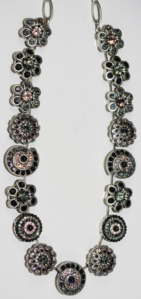 "MARIANA NECKLACE BLACK VELVET: black, pink stones in silver setting, 18"" adjustable chain"