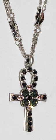 "MARIANA PENDANT BLACK VELVET: black, pink stones in 1.25"" silver setting, 18"" adjustable double chain"