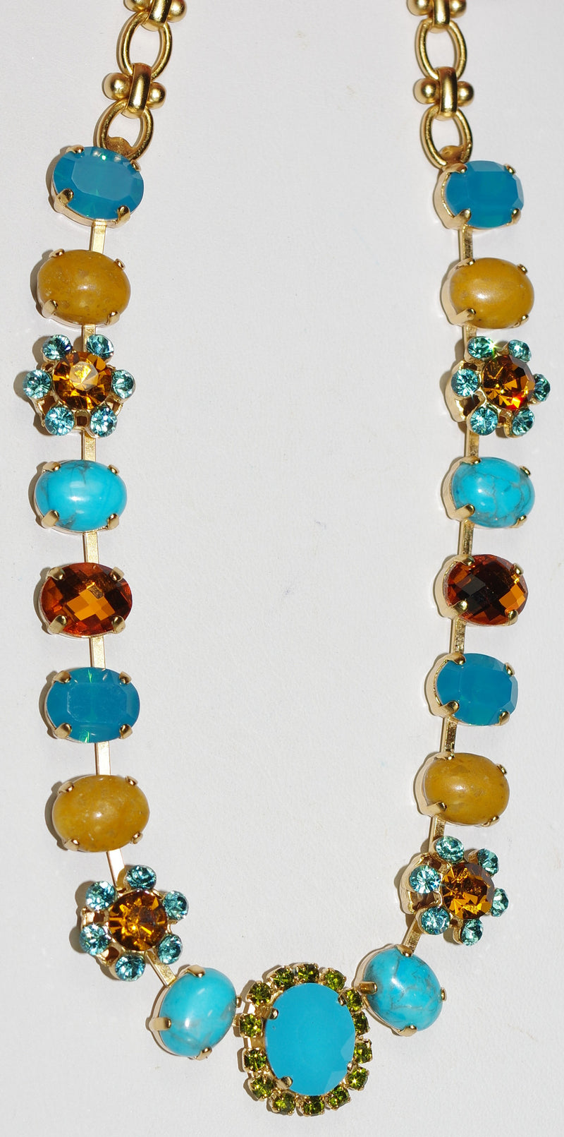 "MARIANA NECKLACE KOKOMO: amber, blue, mineral stones in yellow gold setting, 18"" adjustable chain"