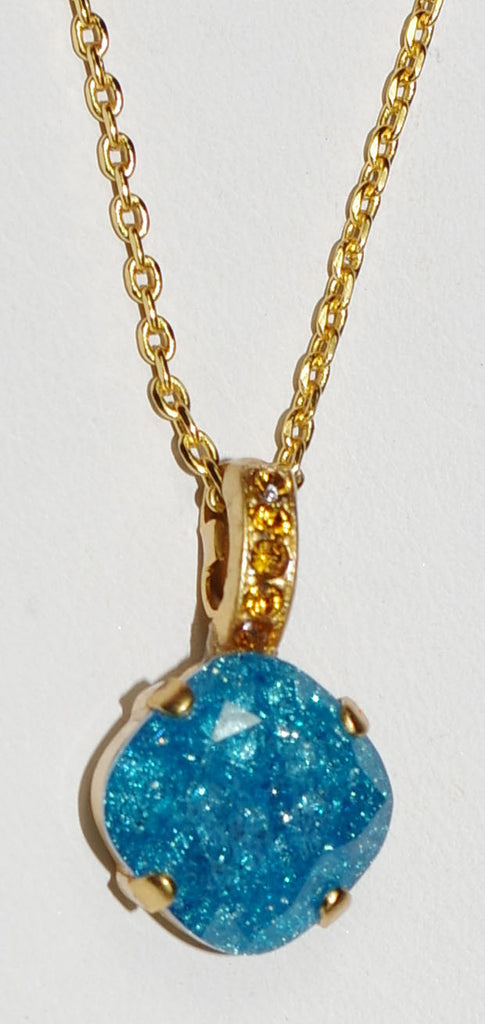 "MARIANA PENDANT KOKOMO: blue, amber stones in yellow gold setting, 18"" adjustable chain"