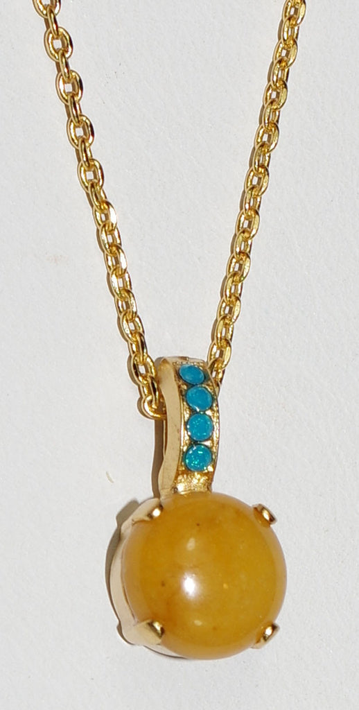 "MARIANA PENDANT KOKOMO: tan mineral, blue stones in 3/4"" yellow gold setting, 18"" adjustable chain"