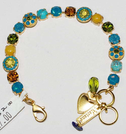 MARIANA BRACELET KOKOMO: blue, amber, mineral stones in yellow gold setting