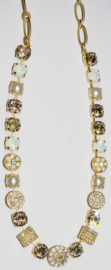 "MARIANA NECKLACE TEQUILA SUNRSE: amber, white, pearl stones in yellow gold setting, 18"" adjustable chain"