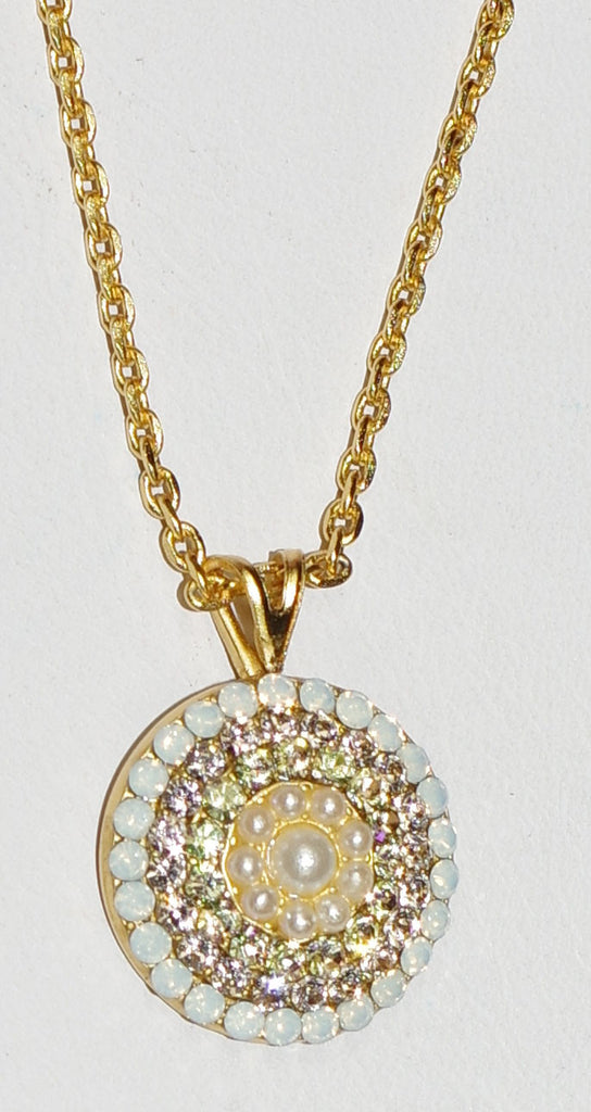 "MARIANA PENDANT TEQUILA SUNRISE: white, amber, pearl stones in 1/2"" yellow gold setting, 18"" adjustable chain"