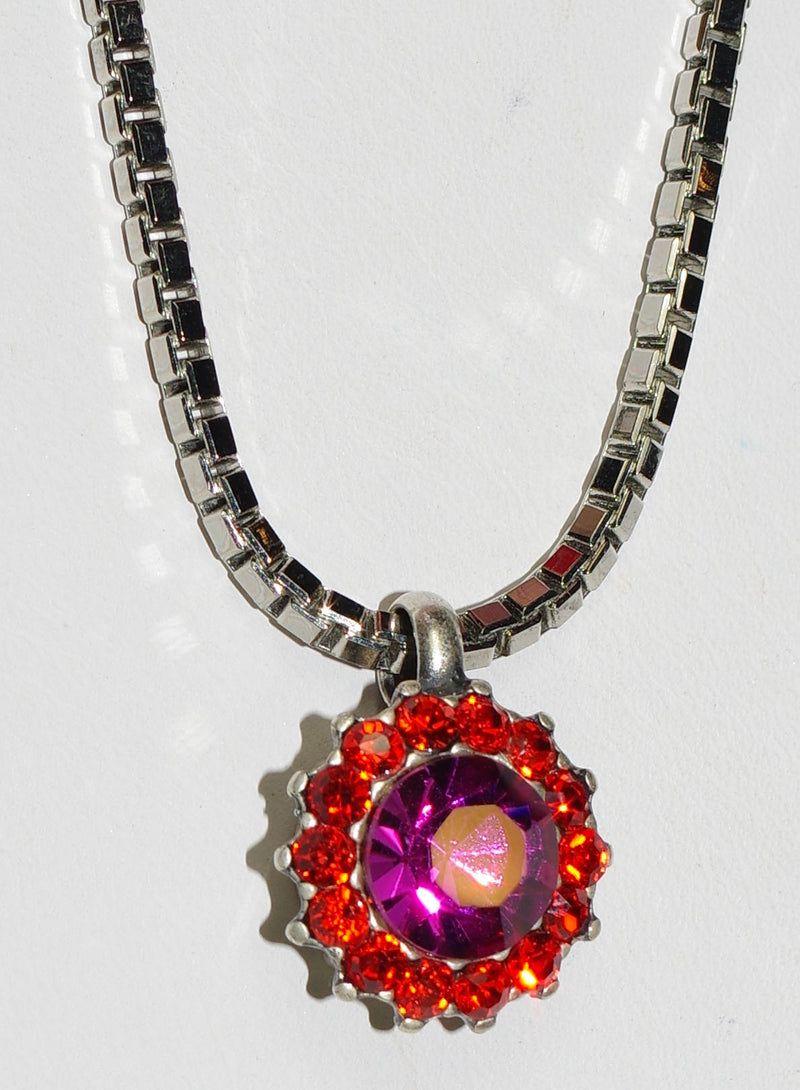 "MARIANA PENDANT LADY MARMALADE: pink, orange stones in 3/4"" silver setting, 17"" adjustable chain"