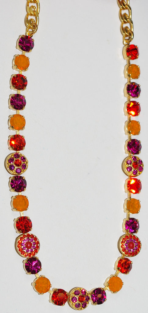 "MARIANA NECKLACE LADY MARMALADE: pink, orange stones in yellow gold setting, 18"" adjustable chain"
