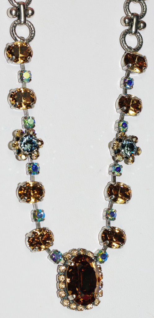 "MARIANA NECKLACE MOON DROPS: amber, blue stones in silver setting, 20"" adjustable chain"