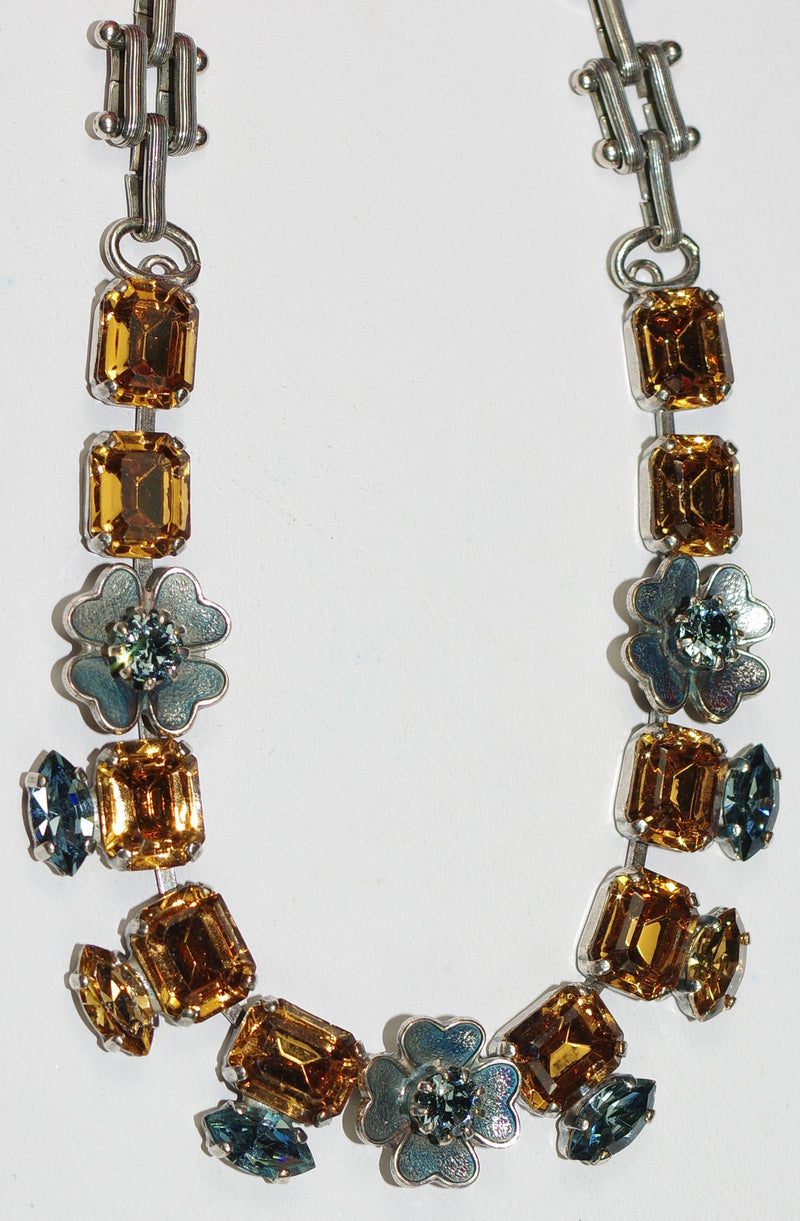 "MARIANA NECKLACE MOON DANCE: amber, blue stones in silver setting, 16"" adjustable chain"