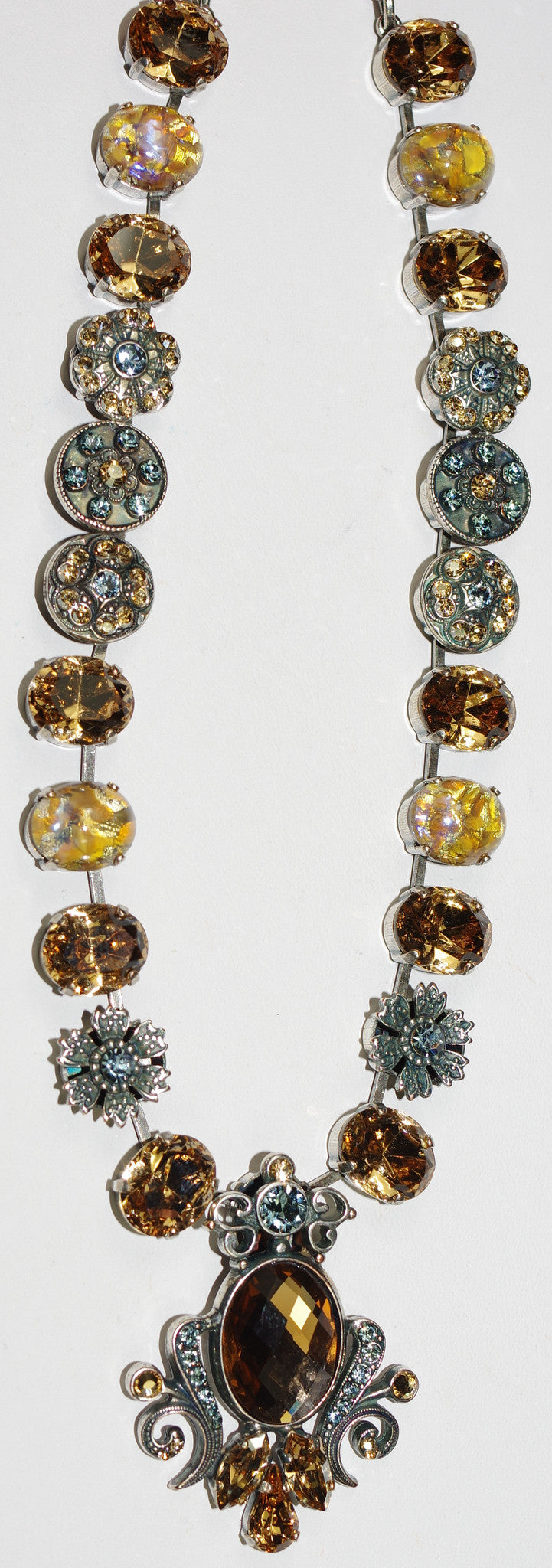 "MARIANA NECKLACE MOON DROPS: amber, blue stones in silver setting, 18"" adjustable chain"
