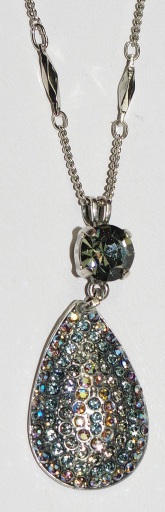 "MARIANA PENDANT MARTINI: blue, taupe, a/b stones in 1.5"" silver setting, 26"" adjustable chain"