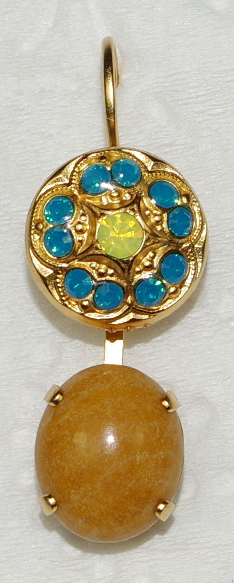 "MARIANA EARRINGS KOKOMO: blue, green, tan mineral stones in 1"" yellow gold setting, lever back"