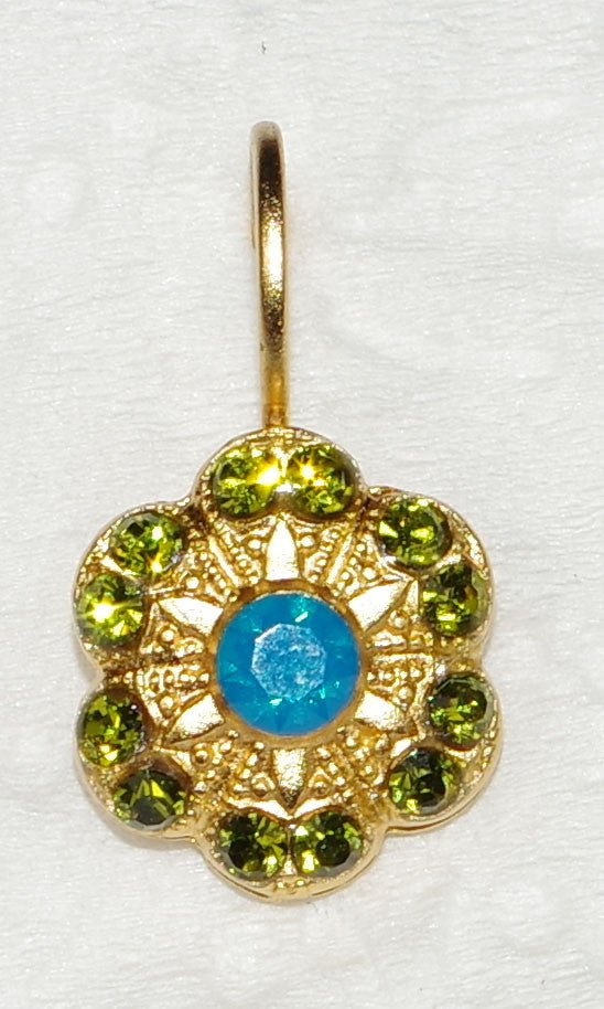 "MARIANA EARRINGS KOKOMO: blue, green stones in 1/2"" yellow gold setting, lever back"