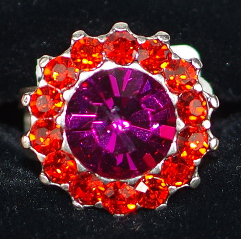 "MARIANA RING LADY MARMALADE: pink, orange stones in 3/4"" silver setting, adjustable size band"