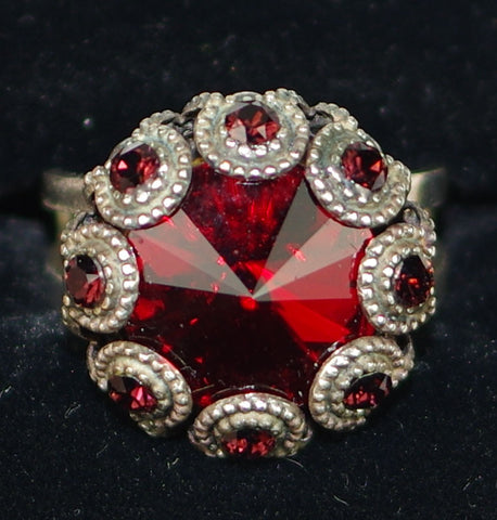 "MARIANA RING LADY IN RED: red stones, 5/8"" silver setting, adjustable band"