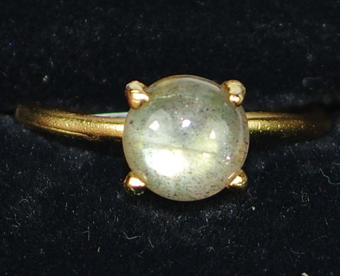 "MARIANA RING GREY MINERAL: grey mineral stone in 1/4"" yellow gold setting, adjustable size band"